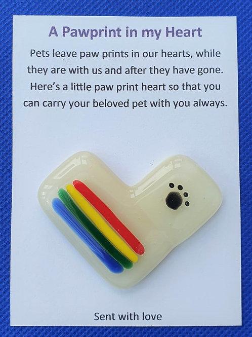 Rainbow Pawprint Heart