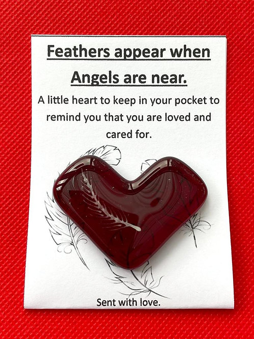 Feathers Appear when Angels are Near - Garnet Red