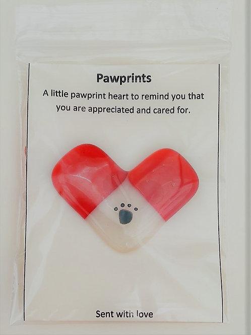 Orange Pawprint Heart