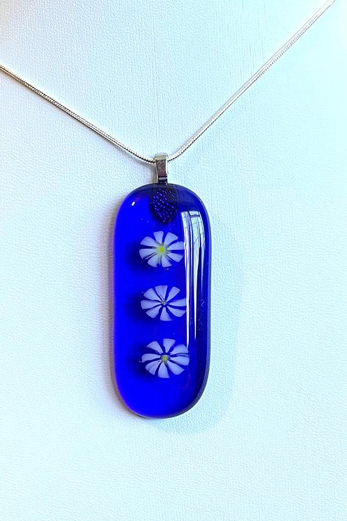Daisies on Royal Blue Necklace