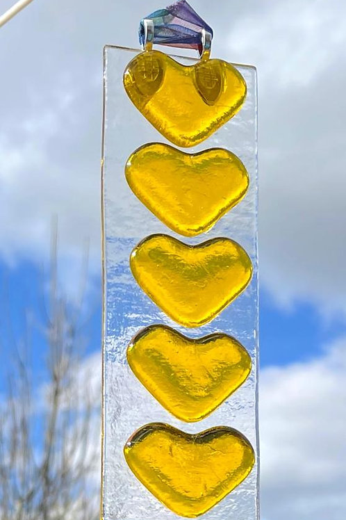 Yellow Hearts Suncatcher