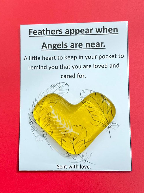 Feathers Appear when Angels are Near - Yellow - Covid 19