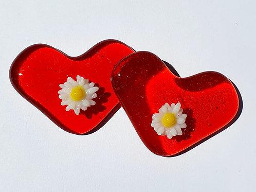 Raised Flower Heart - Orange