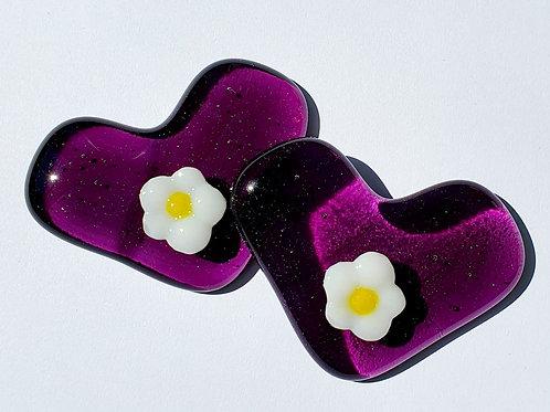 Raised Flower Heart - Violet