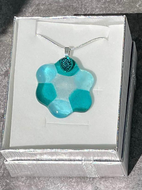 Aqua Flower Necklace