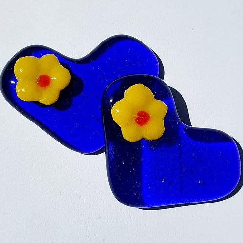 Raised Flower Heart - Royal Blue