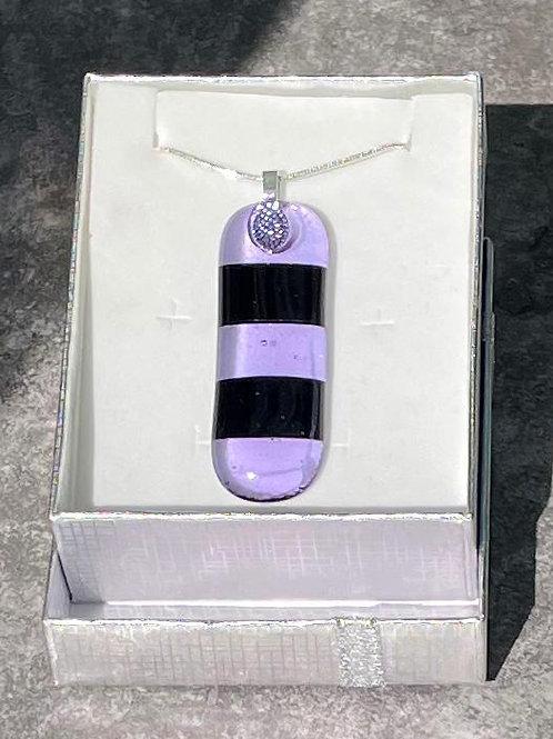 Transparent Lavender/ Opaque Black Necklace