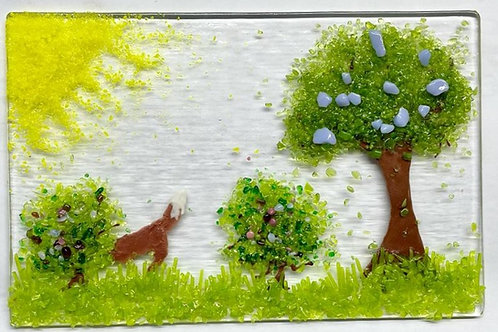 Textured Tile with Foraging Fox