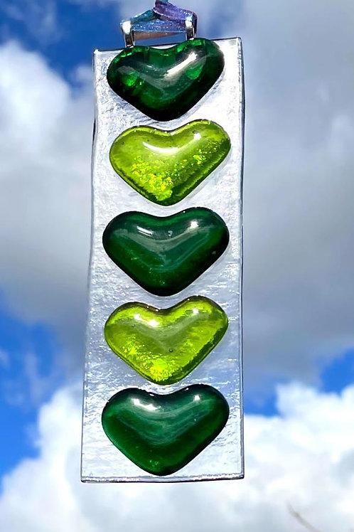 Green Hearts Suncatcher