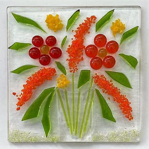 Textured Vase of Flowers Tile