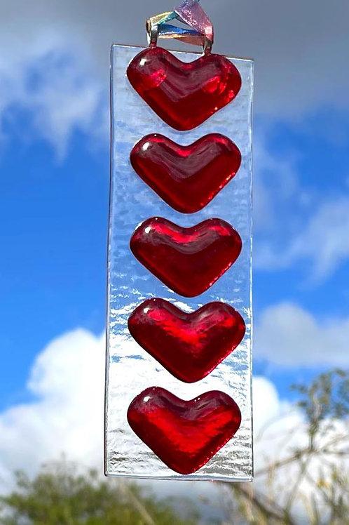 Red Hearts Suncatcher