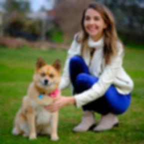 Dr. Heather Bird with Pomsky dog Coconut Kisses at Auburn Dog Park
