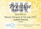 Beauty Therapist of the Year Gold Award Winner 2021