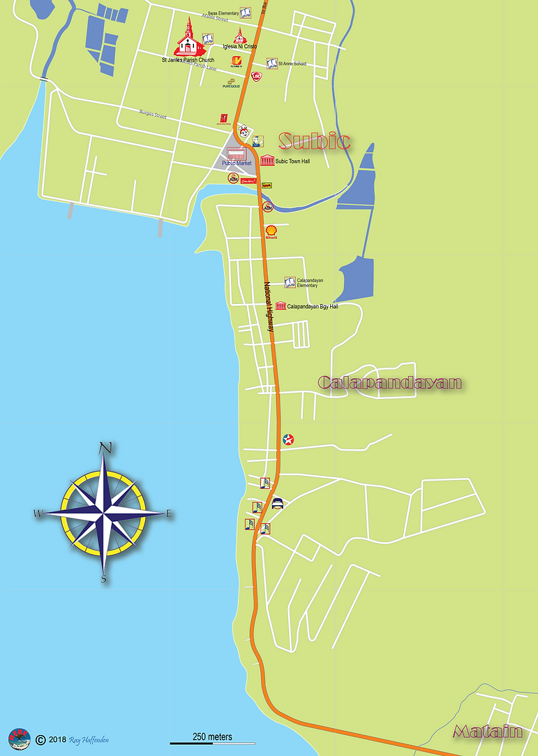 Subic Town 2018 Map, Subic Bay, Zambales, Philippines