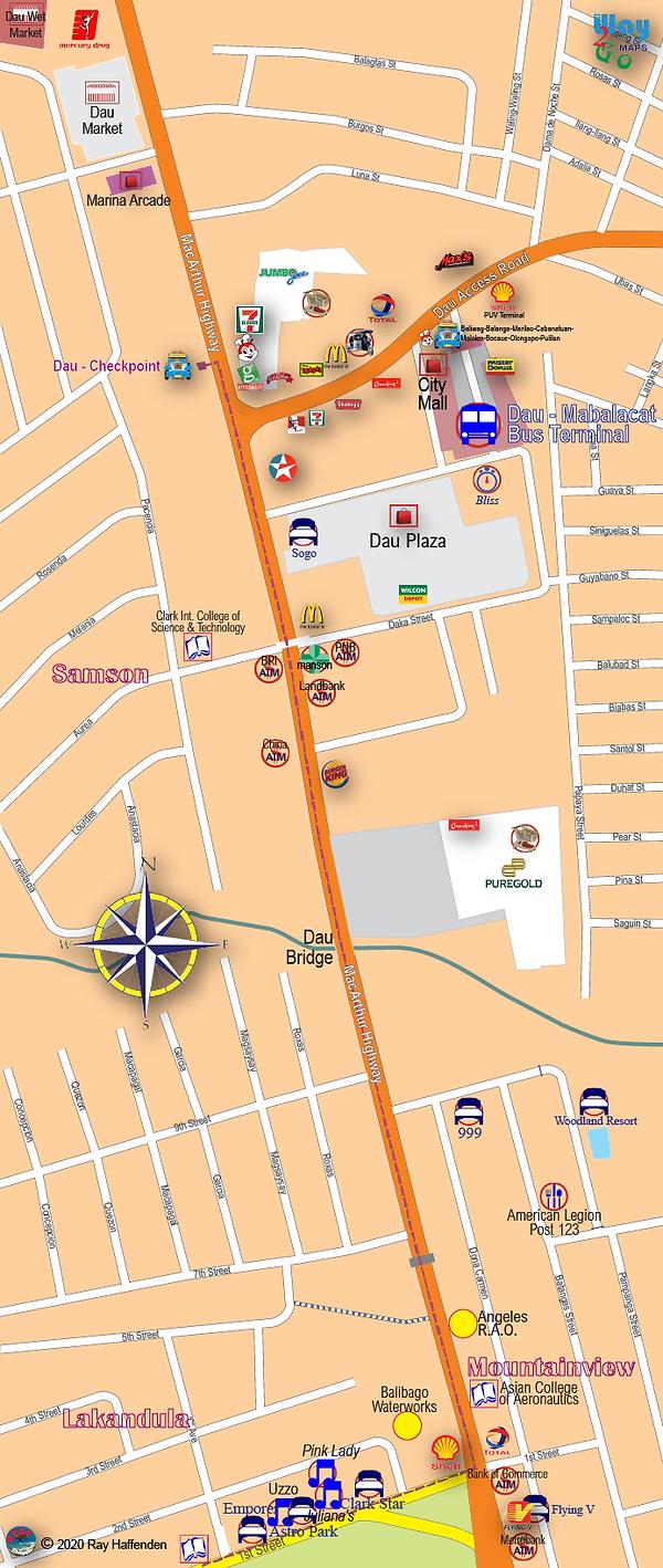 Map of Dau, Mabalacat 2020, Pampanga, Philippines