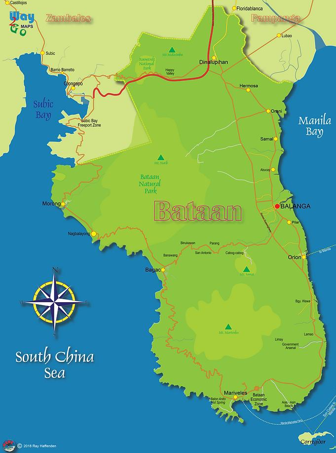 Bataan Province Map, Philippines