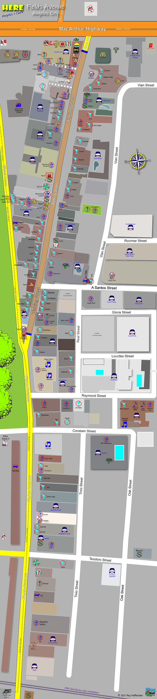 Here-Angeles City  Map of Walking Street