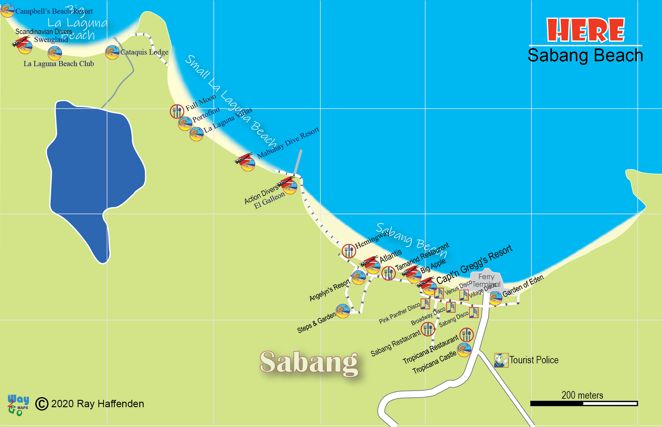 Map of Sabang Beach 2020