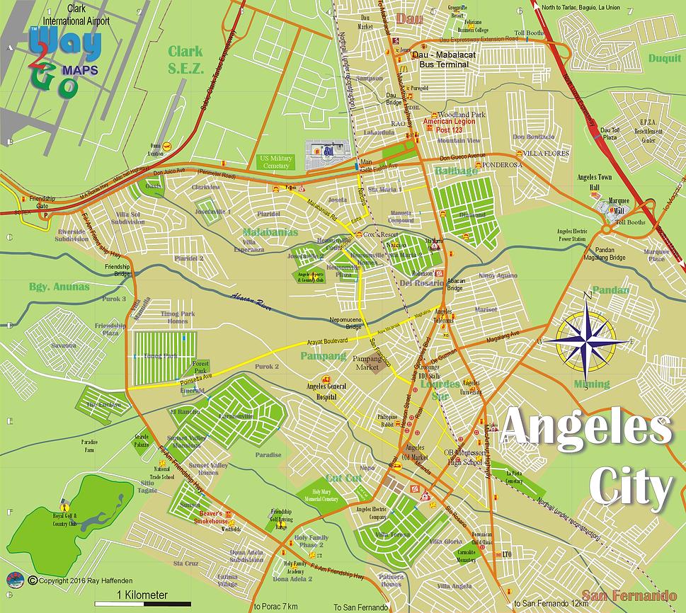 Map of Angeles City, Pampanga, Philippines