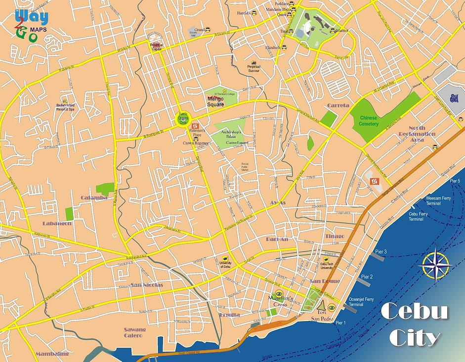 Cebu City Center Map, Cebu, Philippines