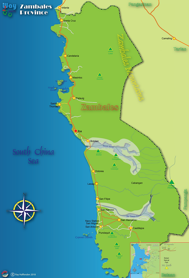 Map of the Province of Zambales, Philippines
