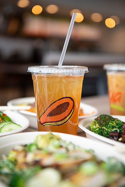 A drink cup with the Papaya logo on it