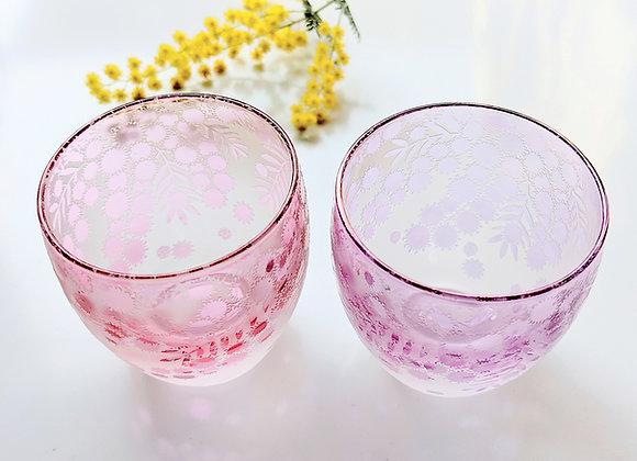 桃紫ミモザのお猪口