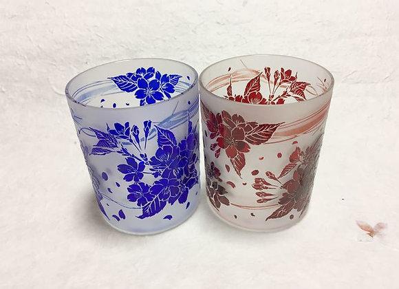 藍紅桜グラス