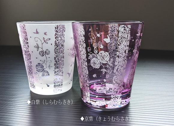 紫シャボン・薔薇と蝶