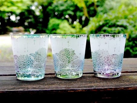 雨時彩(あじさい)グラス再販!