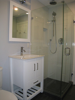 Walk in shower - frameless glass enclosure