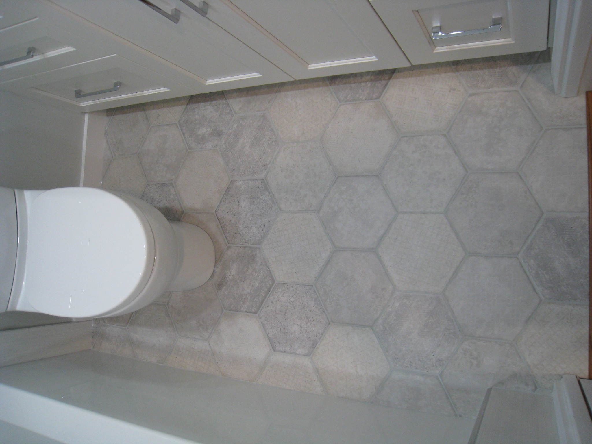 Hexagon floor tiles in Bathroom
