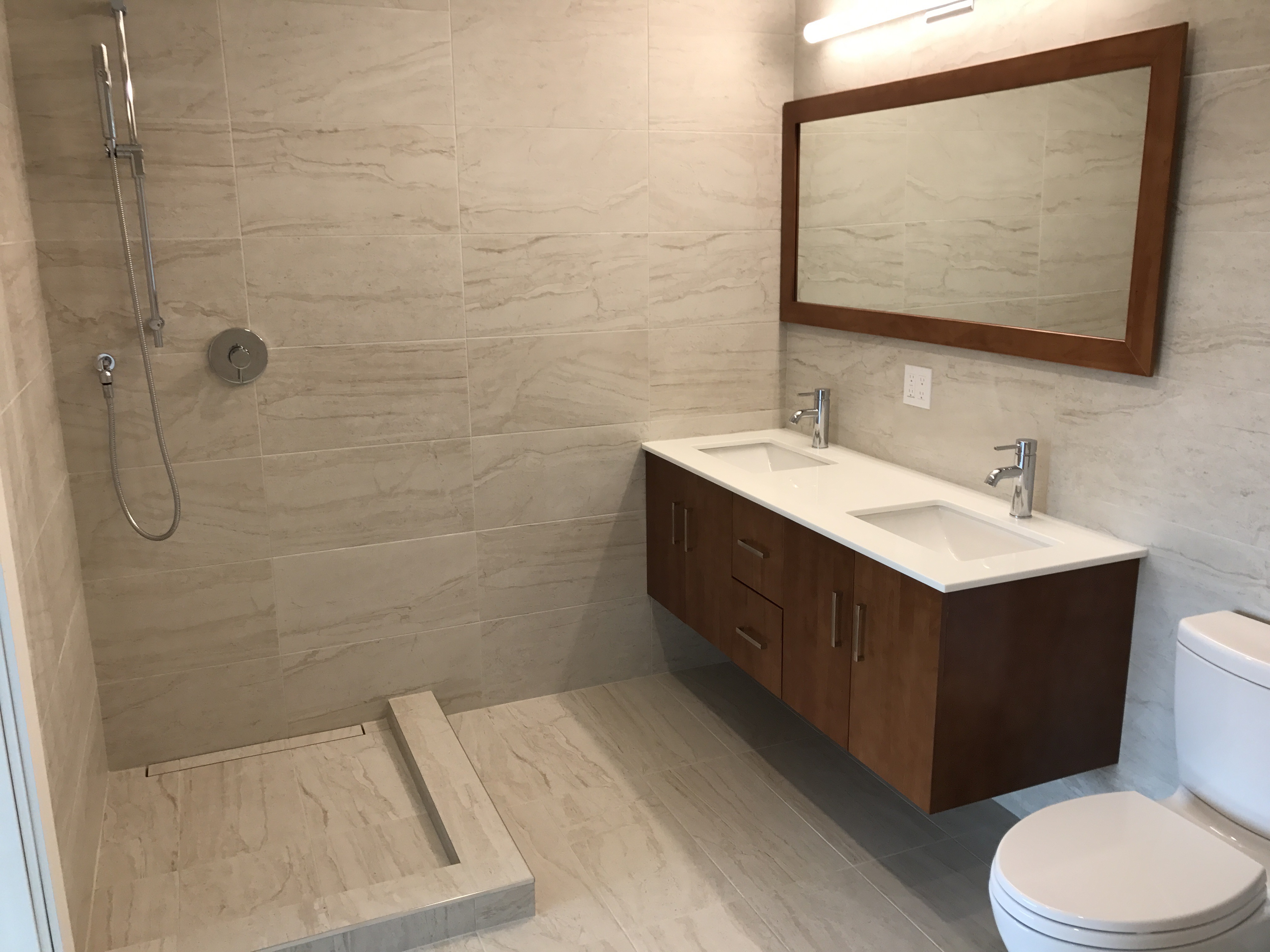 Double Bathroom Vanity and Linear Shower Drain