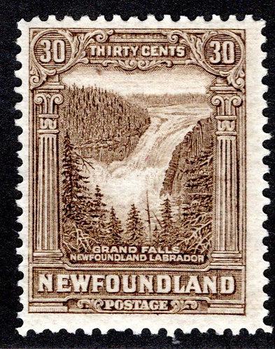151, NSSC, Newfoundland, 30¢ Grand Falls, olive brown,MLHOG, F/VF