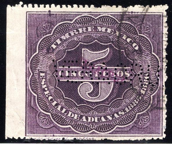 "AD 6, MEXICO, 1885-1886, Customs, Aduanas, 5P, ""VERACRUZ"", Perfin, not a princip"