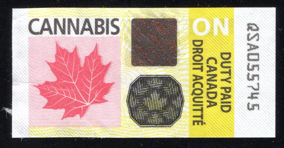 Cannabis, Ontario, Duty Paid Revenue Stamp, from bottle of Softgels