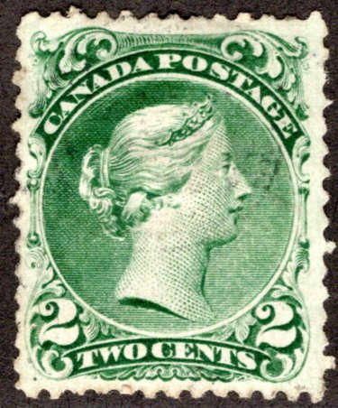 Scott 24, 2c green, Large Queen, VF, Used, Light cancel, Canada Postage Stamp