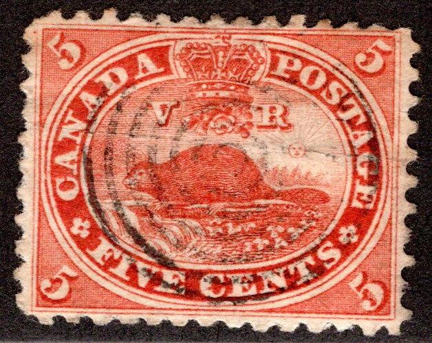 Scott 15, 5c vermillion, Beaver, SOTN Target Cancel, Used, F/VF, Canada Postage