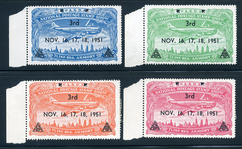 1951 ASDA - Overprint 3rd National Postage Stamp Show - Set of 4 - MH - Perf -