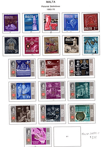 312-329 Malta, MLH and Used, 1965-1970 Definitives
