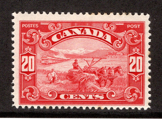 157 Scott, 20c dark carmine, Harvesting Wheat, MLHOG, Canada Stamp