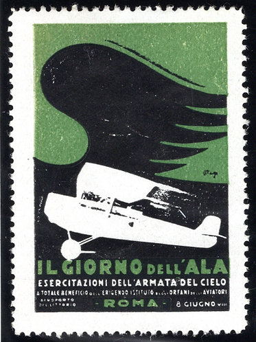 Italy Aviation Vignette, Air Show, 34mm x 50mm design, Generous Borders, VF, MNH