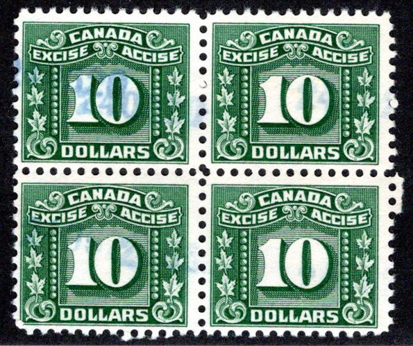 van Dam FX91, $10 green, block of 4, used, Federal Excise Tax Stamps, F/VF