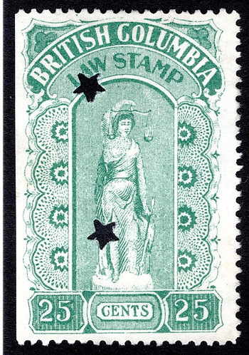 van Dam BCL17 British Columbia Law Stamp - 25c green - Fourth Series - 1912