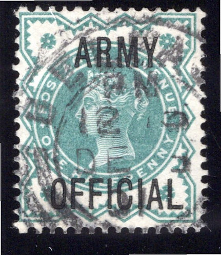 Great Britain GB 1900 Army Official ½d blue-green SG O42 used