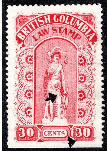 van Dam BCL19 British Columbia Law Stamp - 30c- VF - Fourth Series - 1905-12