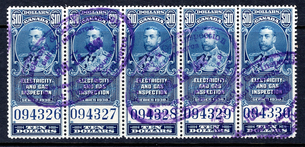 van Dam, FEG11, $10, blue, hand-stamped, electricity and gas