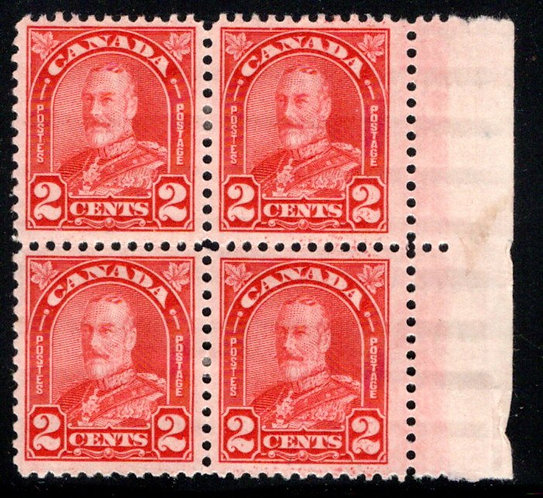 """Scott 165, Die I, 2c deep red, """"Arch"""" issue, MH, F/VF, Block of 4, with selvedge"""