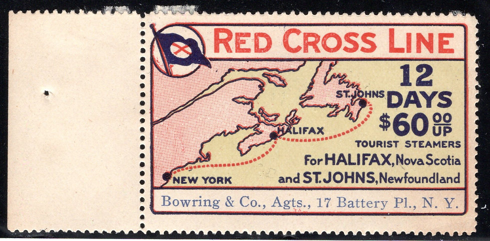 RED CROSS LINE - Cinderella stamp advertising tourist steamers for 12 day cruise