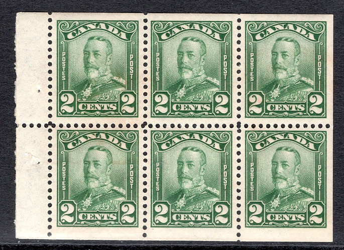 "150a, Scott, booklet pane of 6 x 2c, green, MNHOG, F/VF, ""Scroll"" issue"